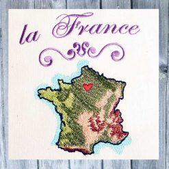 Stickdesign Frankreich Karte Set