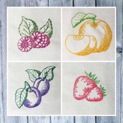 Stickdatei Obstsorten Früchte Set 01