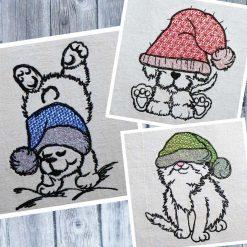 Stickdatei Winter Mützen Tiere Set